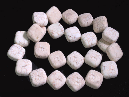 """15mm Matte White Turquoise Puff Square Beads 15.5"""" [t5aw15m]"""