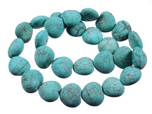 "16mm Matte Green Turquoise Puff Heart Beads 15.5"""