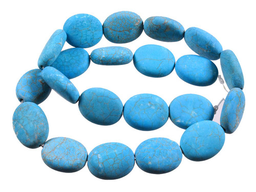 """18x25mm Matte Blue Turquoise Puff Oval Beads 15.5"""""""