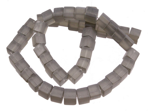 """6x6mm Matte Smoky Topaz Cube Beads 15.5"""" synthetic"""