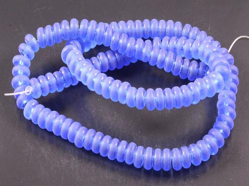 """6mm Matte Blue Quartz Rondelle Beads 15.5"""" synthetic"""
