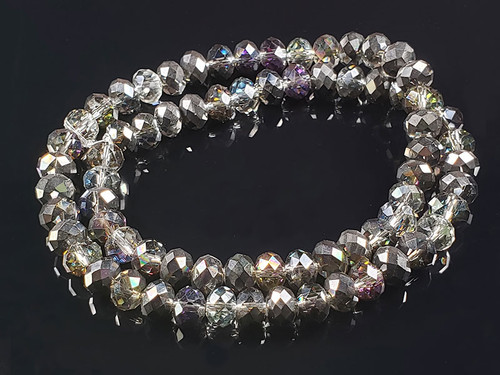 """8x6mm half Black Silver Crystal Faceted Rondelle Beads 16"""""""