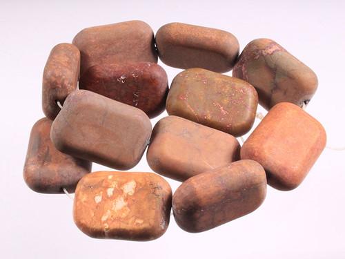 """25x34x13mm Matte Petrified Wood Agate Oblong Beads 15.5"""" [w302m]"""