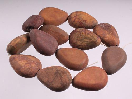 "25x34x13mm Matte Petrified Wood Agate Pear Beads 15.5"" [w313m]"