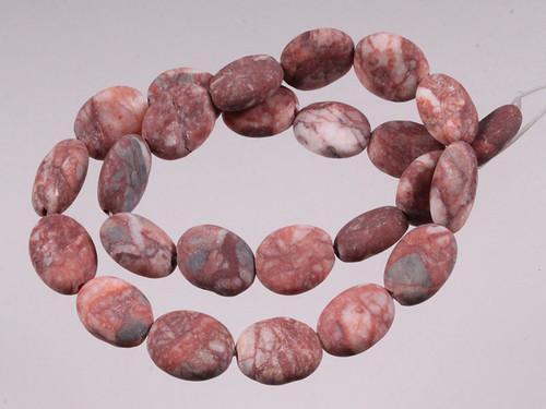 """10x14mm Matte Red Moss Agate Oval Beads 15.5"""" [wa106m]"""