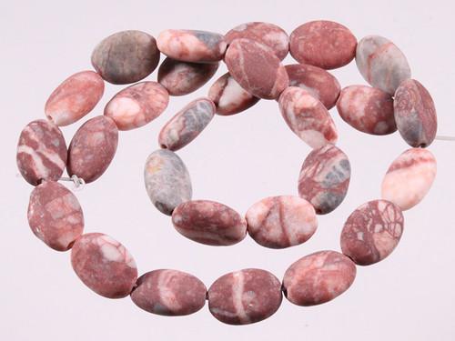 """16x20mm Matte Red Moss Agate Oval Beads 15.5"""" [wa128m]"""