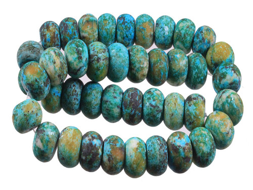 14mm Matte Azurite Chrysocolla Rondelle Beads 15.5""