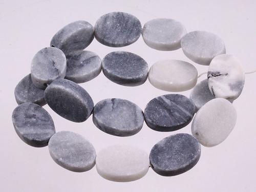 """15x20mm Matte Zebra Jasper Oval Beads 15.5"""" [wa293m]"""