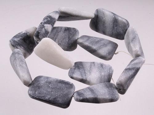 """20x30mm Matte Zebra Jasper Twisted Rectangle Beads 15.5"""" [wa295m]"""