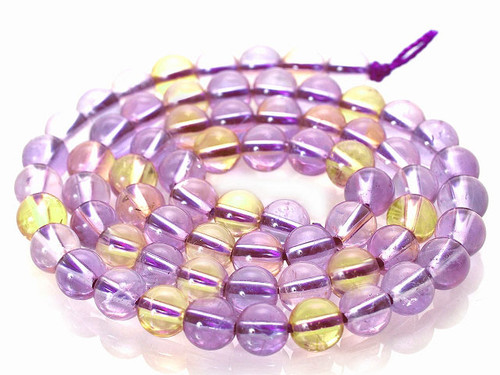 """10mm Natural Amethyst & Ctrine Crystal Round Beads 15.5"""""""