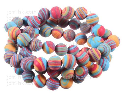 """6mm Matte Rainbow Lace Malachite Beads 15.5"""""""