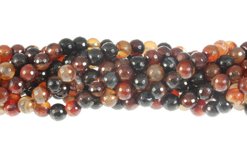 8mm Natural Agate Faceted Round Beads 15.5""