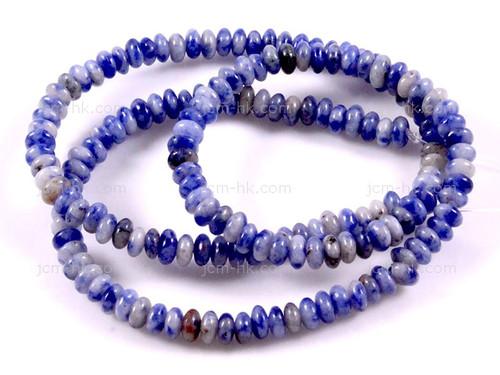 "4mm Denim Lapis Rondelle Beads 15.5"""
