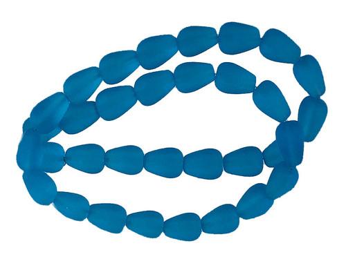 "8x12mm Matte Aquamarine Tear Drop Beads 15.5"" synthetic"