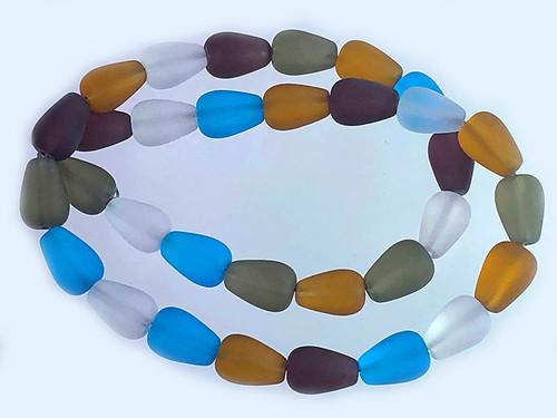 "8x12mm Matte Mix Quartz Tear Drop Beads 15.5"" synthetic"