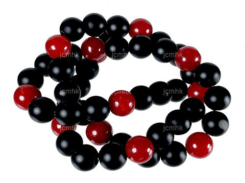 """4mm Red Jade & Obsidian Round Beads 15.5"""" [4x49]"""