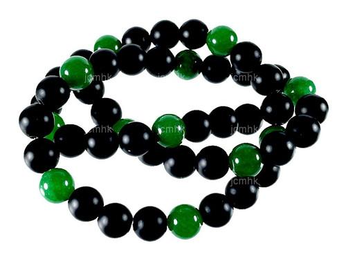 "6mm Green Jade & Obsidian Round Beads 15.5"" [6x47]"