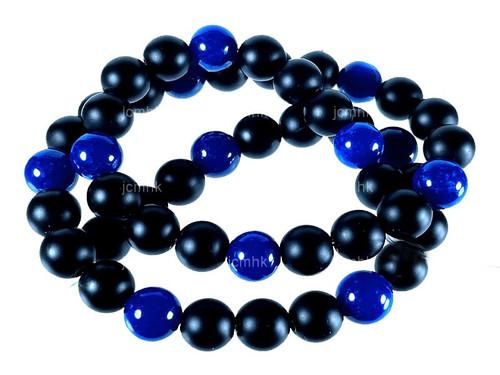 "6mm Blue Jade & Obsidian Round Beads 15.5"" [6x48]"