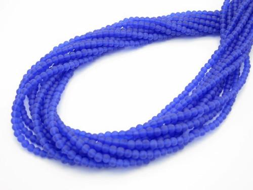 3mm Matte Blue Quartz Round 100 Beads synthetic [3a36m]