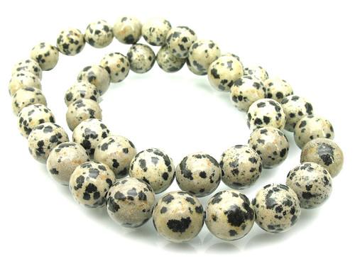 "6mm Dalmatian Round Beads 15.5"""