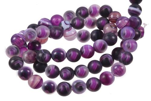 "8mm Matte Purple Stripe Agate Round Beads 15.5"""