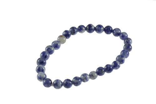 6mm Denim Lapis Elastic Bracelet 28 Beads 6.6""