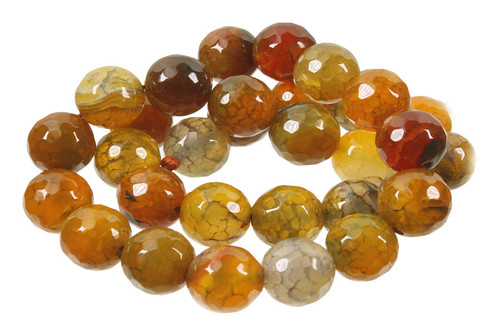 """12mm Yellow Fire Agate Faceted Round Beads 15.5"""""""