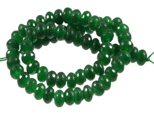 """e168 8mm Malachite Jade Faceted Rondelle Beads 15.5"""" dyed"""