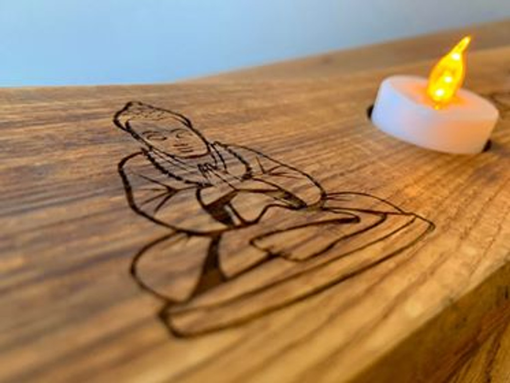Lotus Flower and Buddha Whisky Stave Tealight Holder