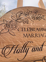 Barrel Lid Wedding Sign with Flowers