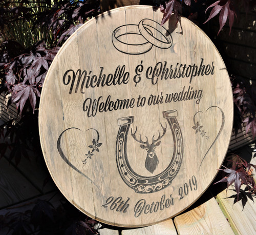 Barrel Lid Wedding Sign