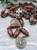 St Michael Holy Spirit Trinity Sacred Heart Miraculous Mary Devotional Red Jasper Agate Bronze Chaplet joy protection stress