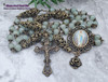 Our Lady of Lourdes Green Jade Bronze tone Ornate Rosary Longevity,Health, Happiness,Good luck, Prosperity
