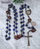 Virgin Miraculous Mary Lourdes Sacred Heart Joseph Red Jasper Lapis Lazuli Bronze Rosary Antique Style Large joy protection stress