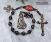 Mary Magdalene Sacred Heart of Jesus Lapis Lazuli Red Coral Antique Style Bronze Chaplet  love Protection Stress Abundance