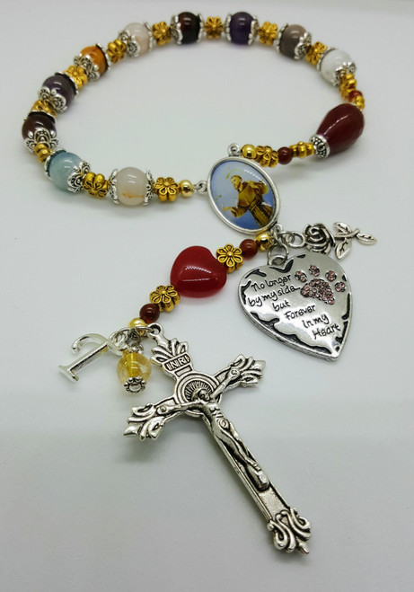 Custom St Francis of Assisi Grieving , Pet Cat Dog Remembrance Emotional Healing Natural Gemstones Rosary 1 Decade Chaplet
