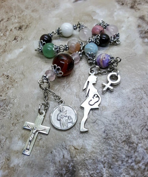 Sterling Silver St Gerard Healthy Pregnancy Childbirth Tenner Gemstone Rosary with Limited Edition Pregnant Woman w Fetus Milagros Charm