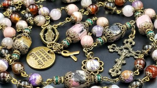 Breast Cancer St Agatha Never Give Up Ribbon Natural Gemstones Healing Rosary