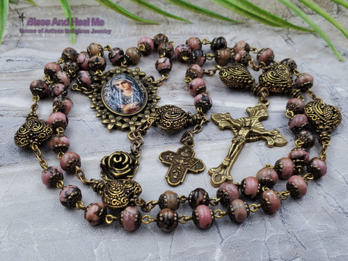 Blessed Virgin Mary Filigree Hearts Unconditional Love Rhodonite Handcrafted Ornate Rosary bronze tone