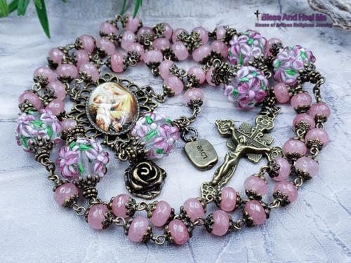 Mother Mary w Jesus Pink Jade Flowers Lampwork Ornate Bronze Tone Rosary Love Peace Happiness Longevity Good Luck