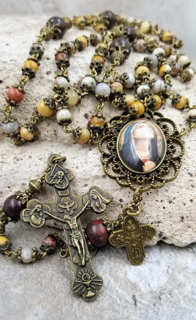 Blessed Virgin Mary Crazy Lace Agate,Red Jasper Vitality,Protection,Harmony,Strength Handcrafted Bronze tone Rosary