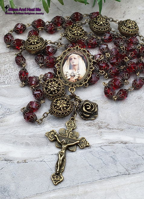Pierced Heart of Mary Red Czech Crystal Bronze finish Ornate Rosary