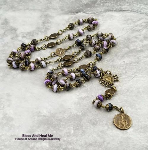 Seven Sorrows Seven Dolores Easter Bronze Devotional Gemstone Rosary Chaplet