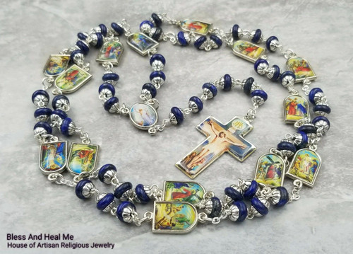 Easter Stations of the Cross Jesus on the Cross Lapis Lazuli Handcrafted Gemstone Rosary Chaplet