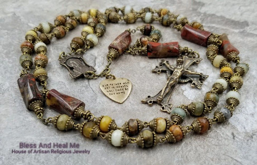 Blessed Virgin Mary Our Father Bronze Jade Jasper Gemstone Rosary for stress,protection,abundance, healing