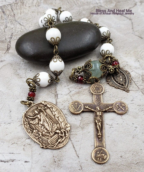 Easter Crown of Thorn Nails Lamb of God,Christ is Risen Sacred Heart Mother of Pearl Fluorite Bronze Gemstone 1 Decade Rosary Tenner