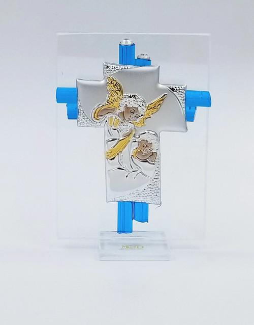 Angel Watching Over Baby/Child Murano Glass Cross Blue