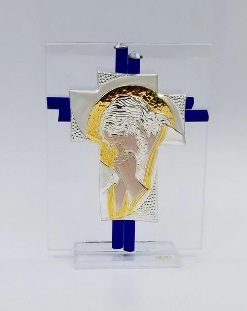 Praying Jesus Murano Glass Cross Blue