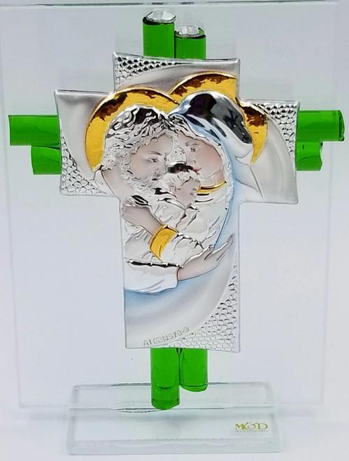 Holy Family Baby Jesus Cross Murano Glass Green