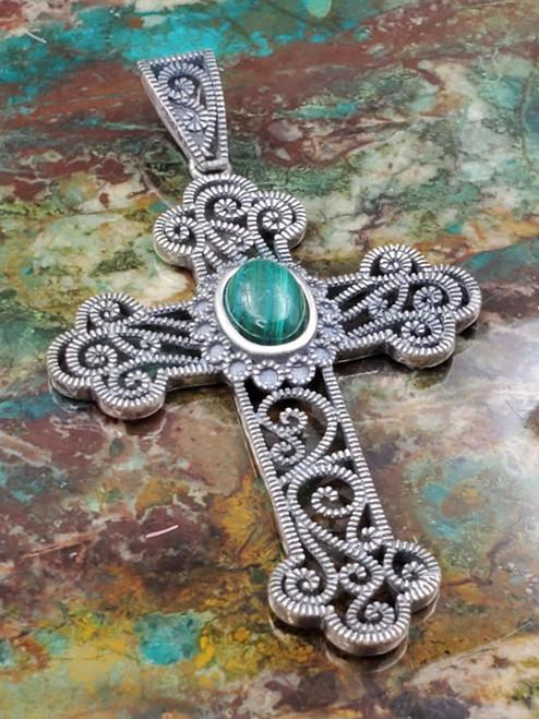 Malachite Filigree Sterling Silver Vintage Religious Cross Pendant Necklace Large